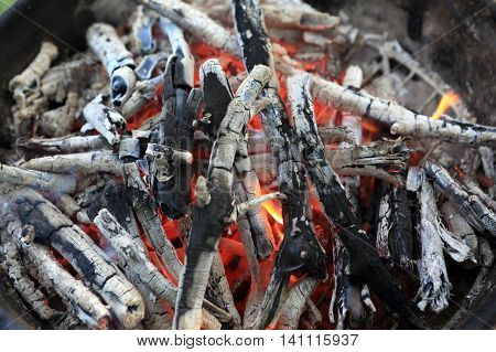 Smoldering coals in a barbecues in a park