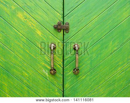 Classic Knob With Green Wood Door