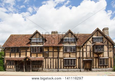 STRATFORD UPON AVON - WARWICKSHIRE, UK - JUNE 24, 2016. The house on Henley Street in Stratford Upon Avon where the famous British playwright William Shakespeare was born and is now a popular English tourist destination.