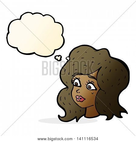 cartoon woman looking concerned with thought bubble