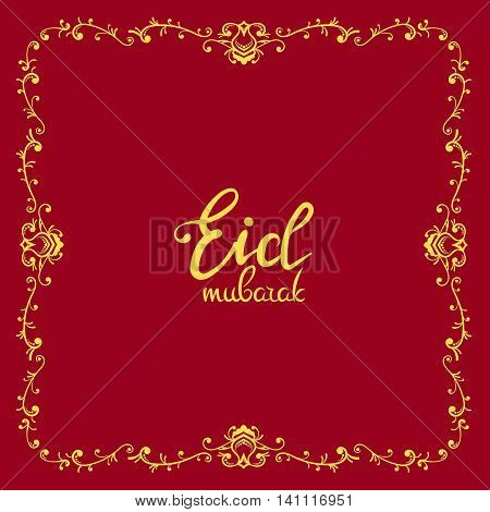 Eid mubarak poster. Illustration of Ramadan Kareem with vintage ornament for the celebration of Muslim community festival. Hand write with a floral frame specially for Ramadan.