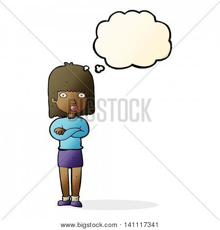 cartoon impatient woman with thought bubble