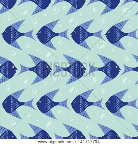 Fish pattern, Seamless vector illustration with fish and bubbles, marine
