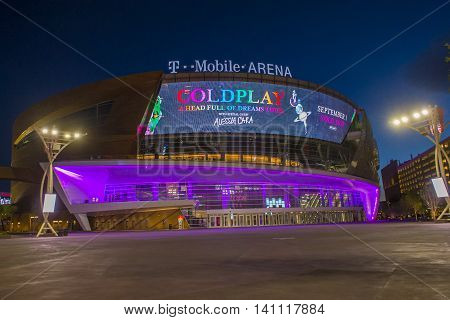 LAS VEGAS - JUNE 14 : The T-Mobile arena in Las Vegas on June 14 2016. The arena is located west of the Las Vegas Strip and has 20000 seat capacity