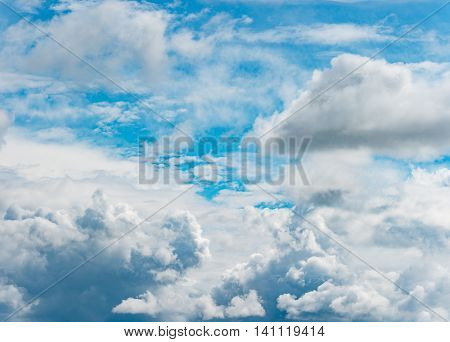 Panorama of beautiful blue sky with white clouds