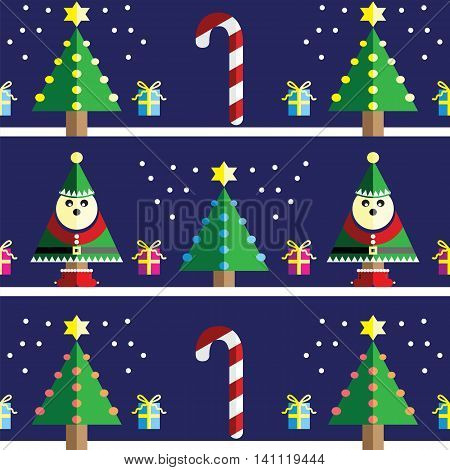 Christmas Seamless pattern with elf  with  gifts with ribbon, snow,  Xmas trees with  pink, blue, orange lights and star element in 2 shades on light blue background
