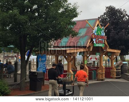 BRISTOL, CT - JUL 9: Lake Compounce in Bristol, Connecticut, as seen on July 9, 2016. Opened in 1846, it is the oldest continuously-operating amusement park in the United States.