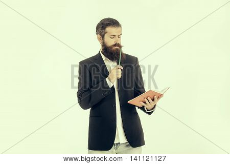 Bearded Man Teacher With Book