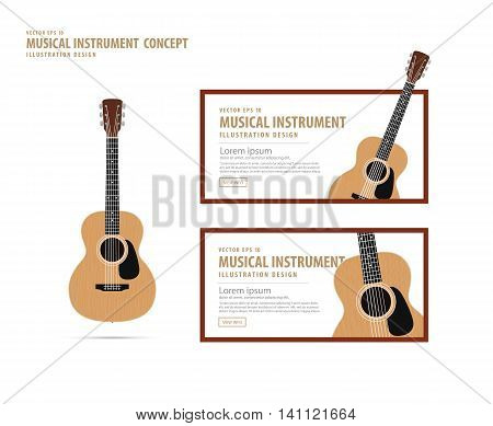 Guitar, Musical Instrument Design Realistic Style And Banner Layout For Commercial Vector.