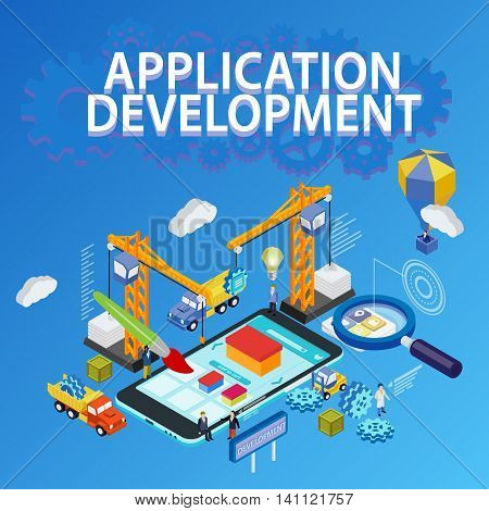Flat 3d isometric mobile and smartwatch design. Futuristic virtual graphic user interface. 3d flat magnifying glass. Crane people creating interface on phone tablet. Many flat gears