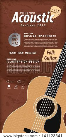 Guitar, Musical Instrument Design Realistic Style And Poster Music Festival Layout For Commercial Ve