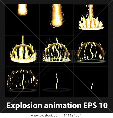 Explosion cartoon explosion animation frames for game. Sprite sheet on dark background Lightning animation. Game animation of lightning. Game animation.