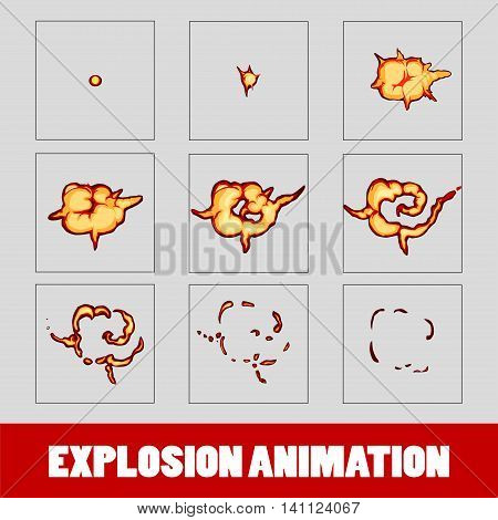 Explosion cartoon explosion animation frames for game. Sprite sheet on dark background Lightning animation. Game animation of lightning. Game animation. Smoke animation.