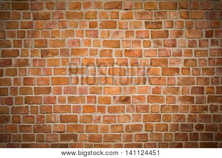 background and texture of decorative red brick wall pattern with cement in horizontal view