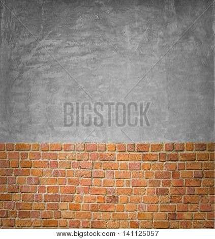 background and texture of decorative red brick wall pattern with Polished concrete surface