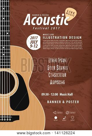 Guitar, Musical Instrument Design Realistic Style And A4 Poster Music Festival Layout For Commercial