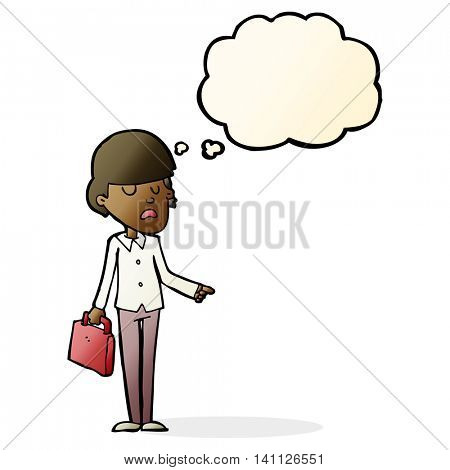 cartoon arrogant businessman pointing with thought bubble