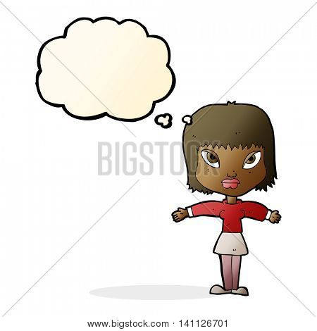cartoon woman with outstretched arms with thought bubble