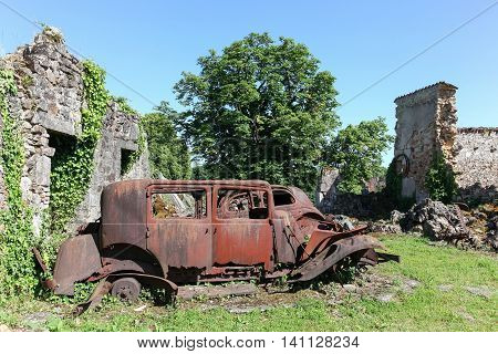 Destroyed village of Oradour sur Glane in June 1944, France