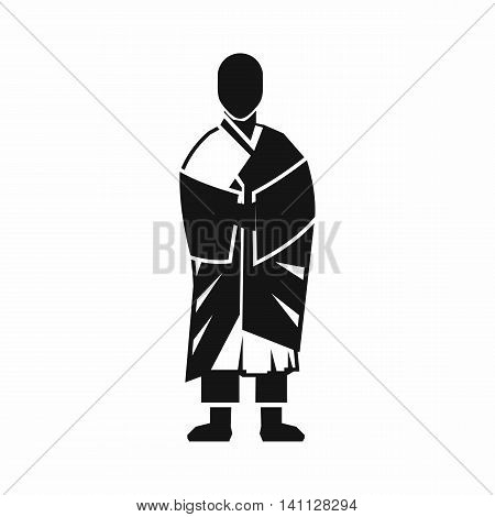 Buddhist monk icon in simple style isolated on white background