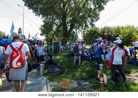 KRAKOW POLAND - JUL 31 2016: Unidentified participants of World Youth Day and International Catholic youth Convention July 25-31. This year festival was visited by Pope Francis.