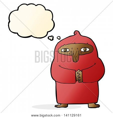 cartoon monk in robe with thought bubble