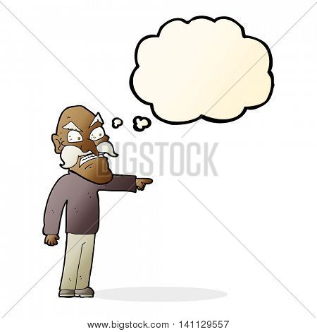 cartoon furious old man with thought bubble