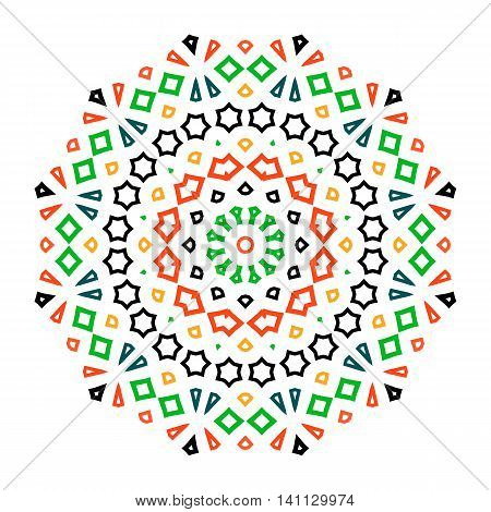 Vector ethnic colorful bohemian round ornament in bright colors. Big abstract flower or mandala with stars, triangles. Geometric boho background with Arabic, Indian, Moroccan, Aztec motifs.
