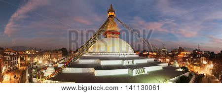 NEPAL KATHMANDU - 10TH OF DECEMBER 2014 - Evening view of Bodhnath stupa