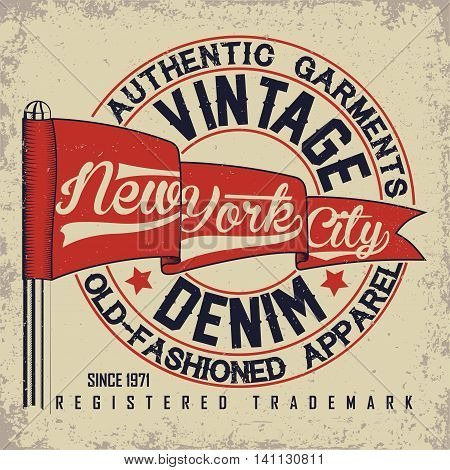 Vintage Denim  typography, grunge  t-shirt graphics, vintage grunge Artwork apparel stamp, Vintage Denim  wear tee print design, New York Denim goods emblem, vector