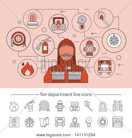 Fire department concept with professional equipment infographics on pink background and linear icons set isolated vector illustration