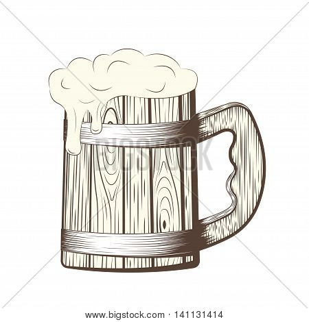 Wooden beer mug with foam, line art pint, monochrome icon on white background, vector