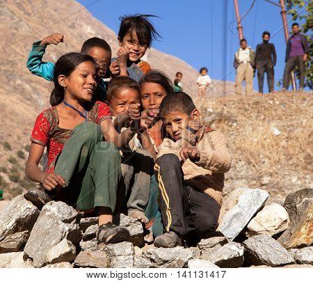 KOLTI VILLAGE WESTERN NEPAL 3rd DECEMBER 2013 - group of nepalese children near Kolti village in western Nepal