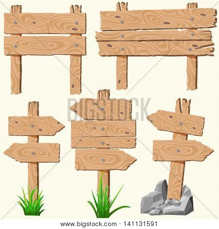 Set of empty, blank wooden planks or boards, guidepost, with cracks and knots, with nails, grass and rocks or stones, you can simply regrouped elements depends on your needs, vector