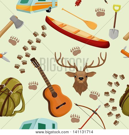 Camping seamless background pattern with elements of camp and hiking tourism and forest animals vector illustration