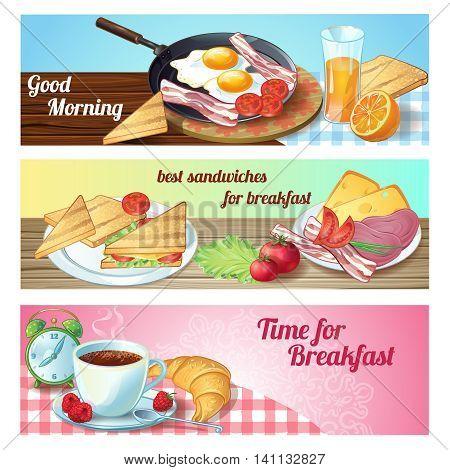 Three horizontal breakfast banner set with good morning time for breakfast descriptions vector illustration