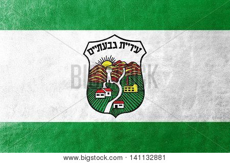Flag Of Givatayim, Israel, Painted On Leather Texture