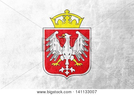 Flag Of Gniezno, Poland, Painted On Leather Texture