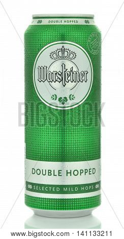 CIRCA MAY 2016 - GDANSK: Warsteiner beer isolated on white background. Warsteiner beer has been brewed at  Arnsberg Forest Nature Park outside of Warstein,Germany since 1753.