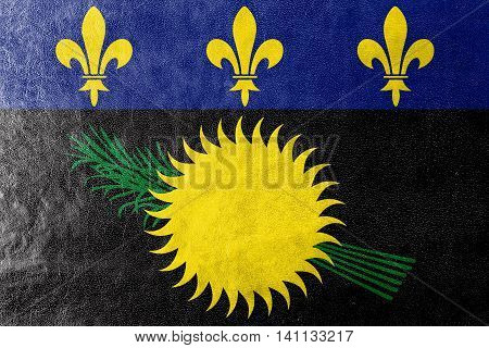 Flag Of Guadeloupe (local), France, Painted On Leather Texture