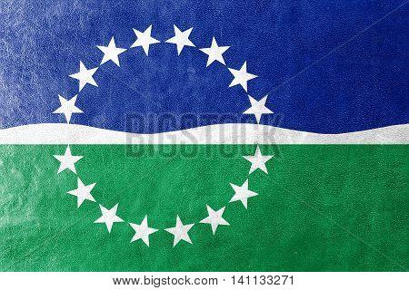 Flag Of Hampton Roads, Virginia, Usa, Painted On Leather Texture