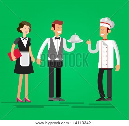Vector detailed character people in the restaurant, waiter and Chef