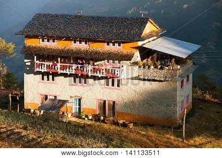 KHIJI BAZAR NEPAL 7th DECEMBER 2014 - morning view of beautiful small house nin Khiji Bazar village near Jiri Bazar trek to Everest area eastern Nepal