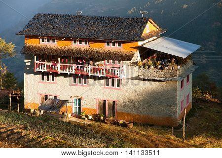 KHIJI BAZAR NEPAL 7th DECEMBER 2014 - morning view of beautiful small house nin Khiji Bazar village near Jiri Bazar trek to Everest area eastern Nepal