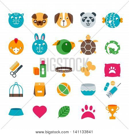 Vector Pet Shop, Zoo Or Veterinary Flat Icons Set.