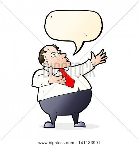 cartoon exasperated middle aged man with speech bubble