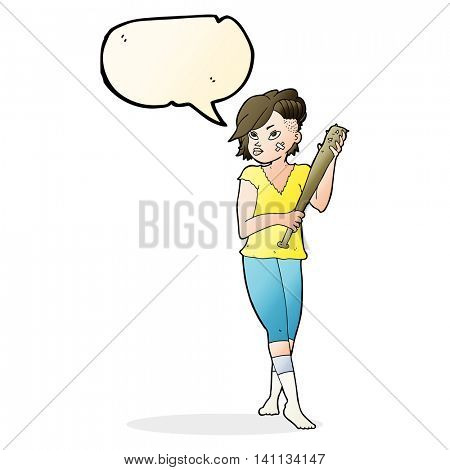 cartoon pretty punk girl with baseball bat with speech bubble