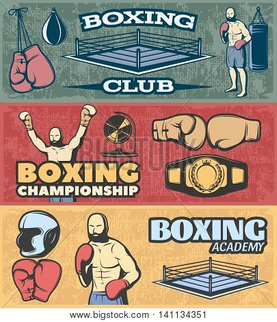 Boxing horizontal banners set with fight club championship and academy  on grunge style background isolated vector illustration