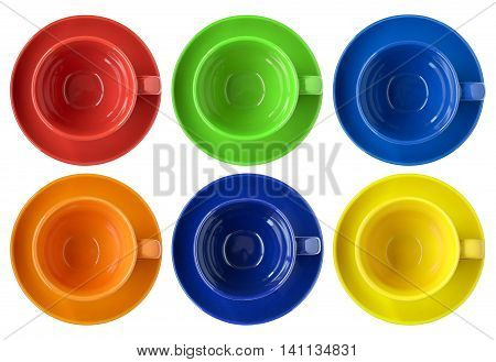 Set Of Color Cups And Saucer Top View Isolated On White With Clipping Path