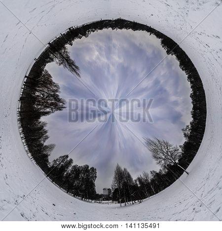English Garden Munich White Snow Cold Winter Circular Manipulation Abstract